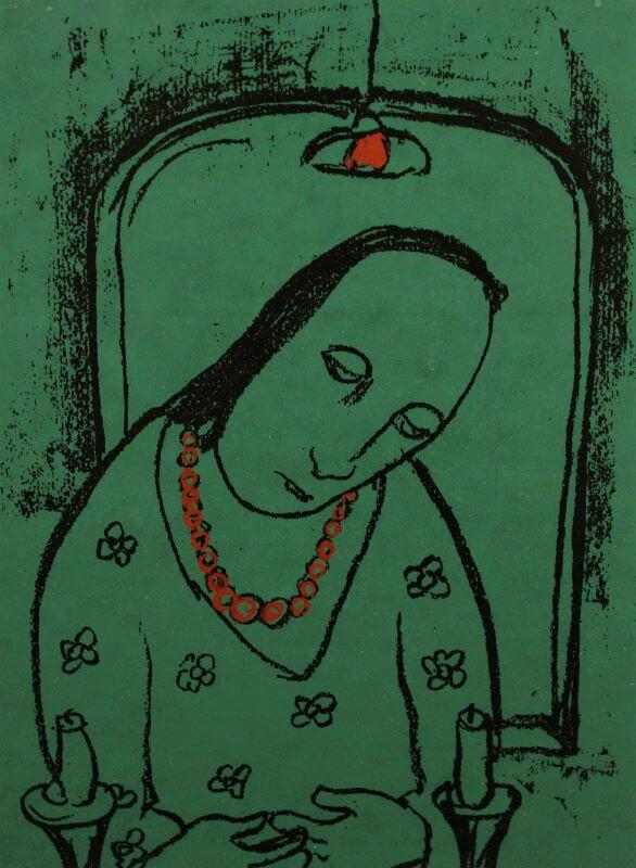 Ženska z rdečo ogrlico